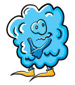 Funny shy cartoon cloud — Stockvektor