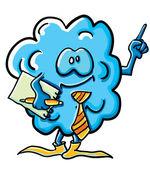 Funny cartoon cloud is an office worker — Stock Vector