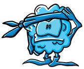 Funny cartoon cloud is a commando — Stock Vector