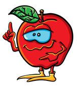 Komik karikatür mutlu elma — Stockvector