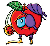 Funny cartoon apple is pirate — Stockvektor