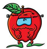 Funny cartoon apple is Frankenstein — Stock Vector