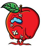 Grappige gehavende cartoon apple — Stockvector