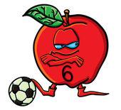 Grappige cartoon apple is een voetbal — Stockvector