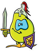 Funny cartoon pear is a knight — Stock Vector