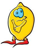 Funny shy cartoon lemon — Stock Vector