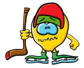 Funny cartoon lemon is a hockey — Stock Vector