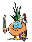 Funny cartoon onion is a knight — Stock Vector