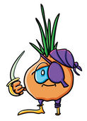 Funny cartoon onion is pirate — Wektor stockowy