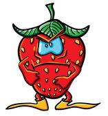 Funny angry cartoon strawberry — Stock Vector