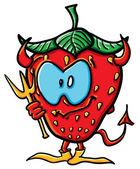 Funny cartoon strawberry is demon — Stock Vector