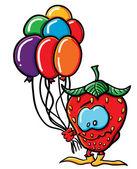 Fragola divertenti cartoon con palloncini — Vettoriale Stock