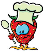 Funny cartoon strawberry is a cook — Stock Vector
