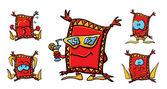 Lustige camper cartoon teppiche — Stockvektor
