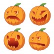 Four icons pumpkins for Halloween — Stock Vector