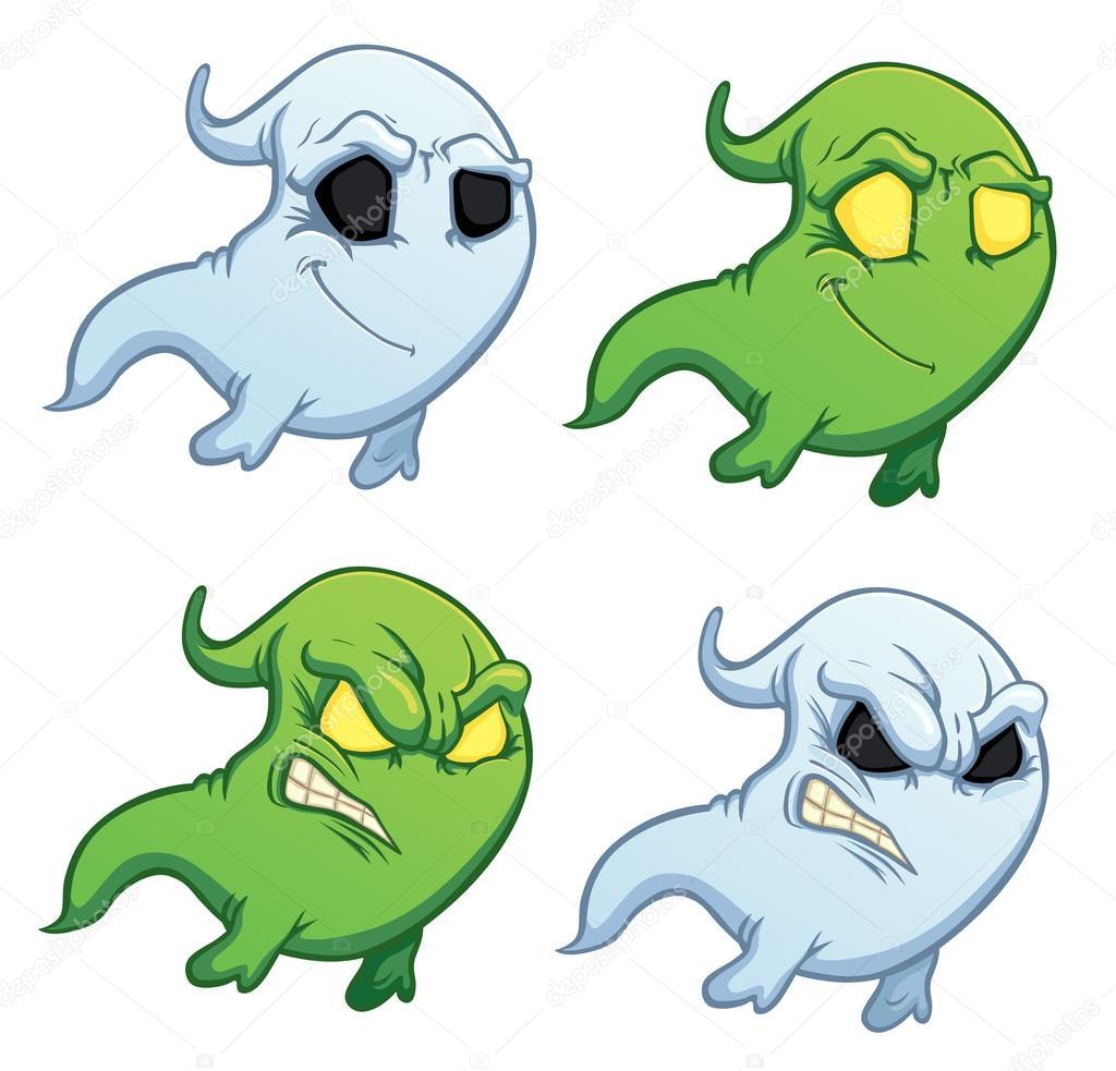 Fantasma di cartone animato divertente su fondo bianco