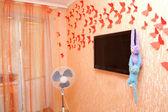 Interno camera da letto con tv — Foto Stock