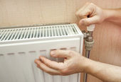 Check of heating of a radiator — Stock Photo