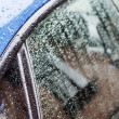 Splashes and water drops on acar windows — Stock Photo