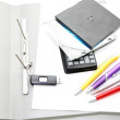 Stock Photo: Office accessories on white background