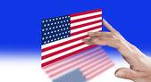 Direction fingers on the U.S. flag  — Zdjęcie stockowe