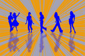 Silhouettes of a dancing couple and girls in different poses  — Stock Photo