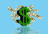Dollar sign of the USA with currency notes on a blue background  — Stock Photo