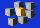Cubes with an eurocurrency sign on a blue background — Stock Photo