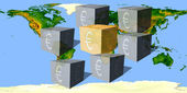 Cubes with an eurocurrency sign against the world map — Stock Photo