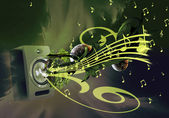 Illustration of sounding of music from a column — Stock Photo