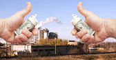 Hands with dollar notes against plant — Stock Photo