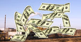 Falling notes of US dollar against industrial plant  — Stock Photo