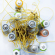 Wires with electrical batteries — Stock Photo #8713340