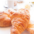 Coffee and Brioches for energetic breakfast — Stock Photo