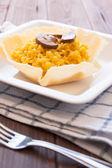 Saffron and mushroom risotto — Stock Photo