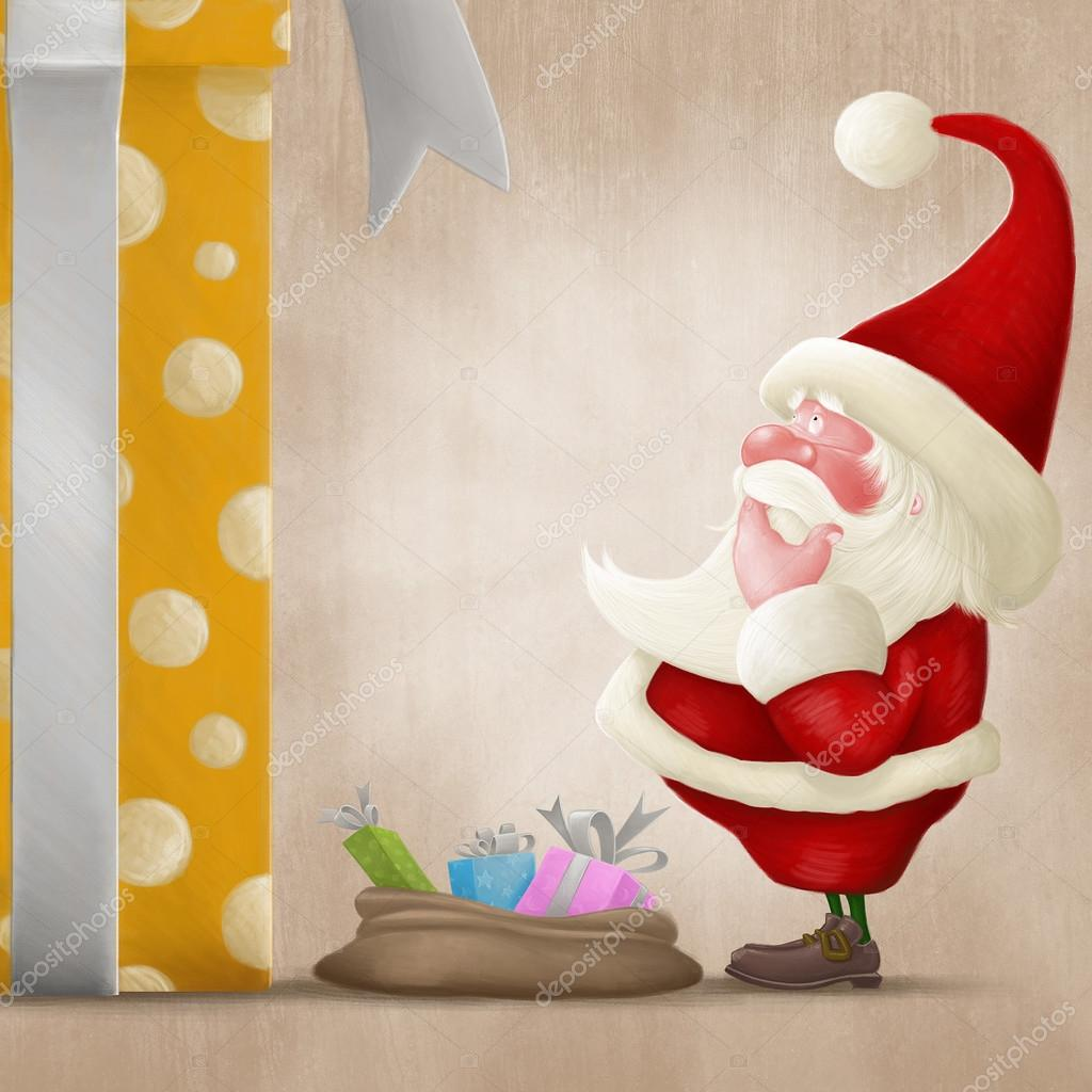 Santa Claus perplexed in front of a big gift box and little bag — Stock Photo #12607940