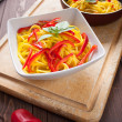 Spaghetti con zafferano e peperone - Spaghetti with saffron and — Stock Photo