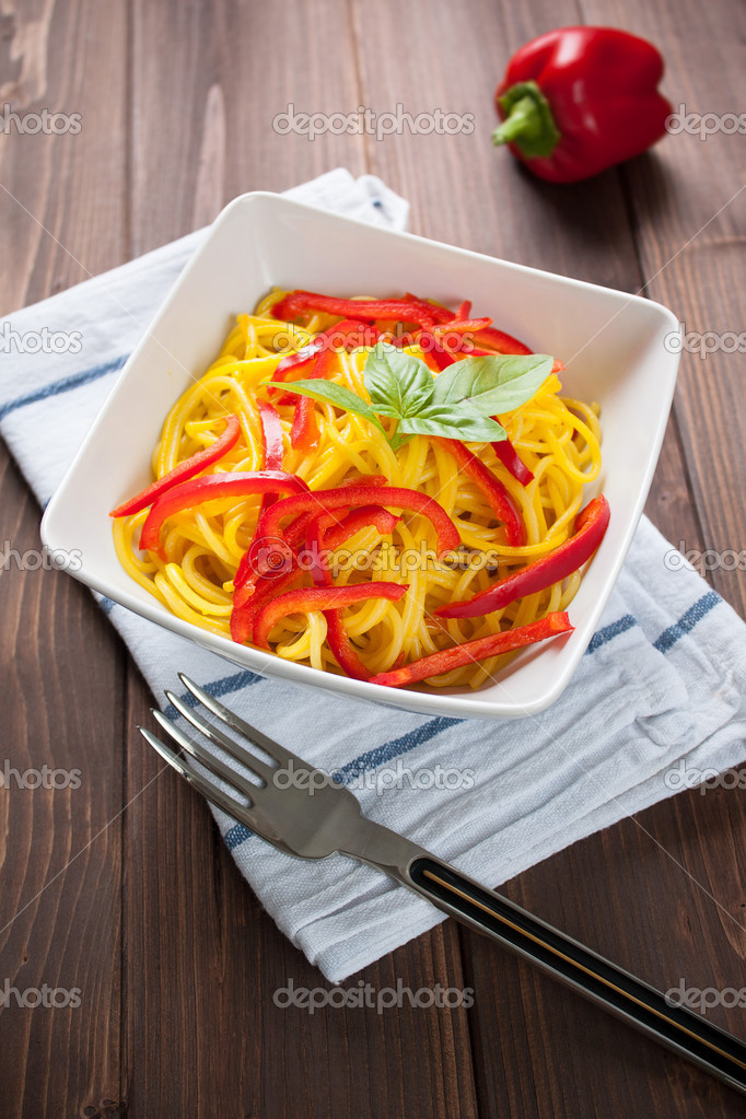 Pasta Spaghetti with saffron and capsicum for vegetarian cuisine  Stock Photo #13187405