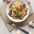 Tagliatelle ai funghi - Noodles with mushroom — Stock Photo
