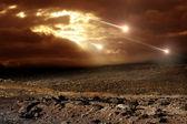 Meteoritos en el cielo — Foto de Stock