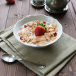 Breakfast cereals with milk and strawberries — Stock Photo