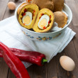 Bun with egg surprise — Stock Photo