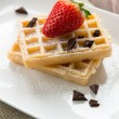 Waffel with strawberry and chocolate - Stock Photo