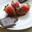 Strawberries and chocolate - Stock Photo