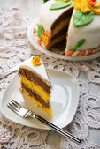 Decorated layer cake — Stock Photo