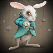 White rabbit with clock — Stockfoto
