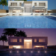 Modern villa day and night view — Stock Photo