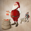 Santa Claus prepares gifts — Stock Photo