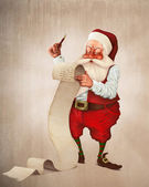 Santa Claus and the list of gifts — Stock Photo