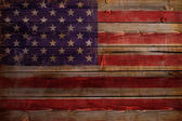 United States of America flag painted on wood aces — Foto Stock